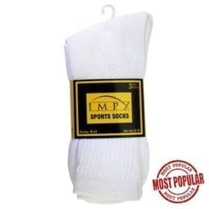 Wholesale Men's 3-Pack Sport Sock (Size 10 - 13) White