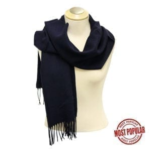 Wholesale Adult Solid Navy Fringe Scarf