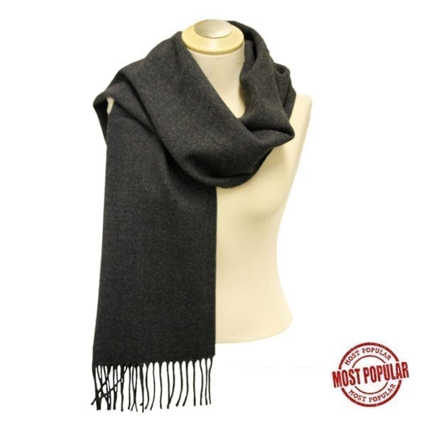 Wholesale Adult Solid Charcoal Fringe Scarf
