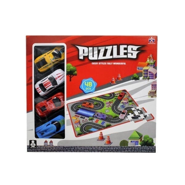 Wholesale Puzzle Mat With 4 Assorted Cars - 48 Pieces
