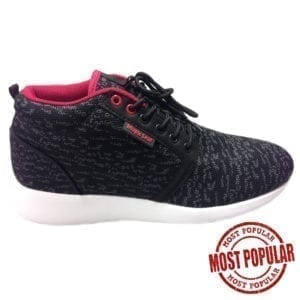 Wholesale Men's Black Knitted Lace Athletic Shoes (Size 7-12)