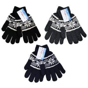 Wholesale Adult Snow Flake Knit Gloves
