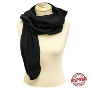 "Wholesale Black Polar Fleece Scarf (12"" X 63"")"