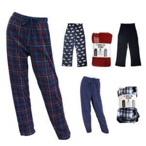 Wholesale Men's/Unisex Micro Fleece Pajama Pants (Size S-XL) - 2-Pack