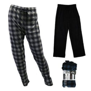 Wholesale Men's/Unisex 2-Pack Micro Fleece Pajama Pants (Size S-XL)
