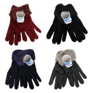 Wholesale Ladies' Fleece Gloves With Faux Fur Trim