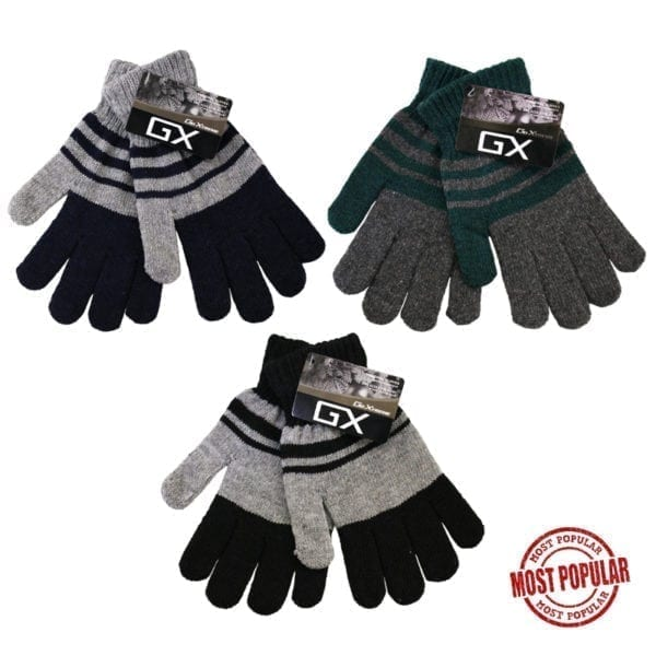 Wholesale Adult Striped Heavy Knit Gloves