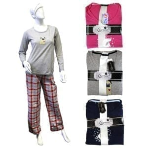 Wholesale Ladies' 2 Piece Screen Printed Pajama Set (Size S - XL)