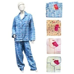 Wholesale Ladies' Plus Size 2-Piece Flannel Pajama Set (Size XL-3XL)