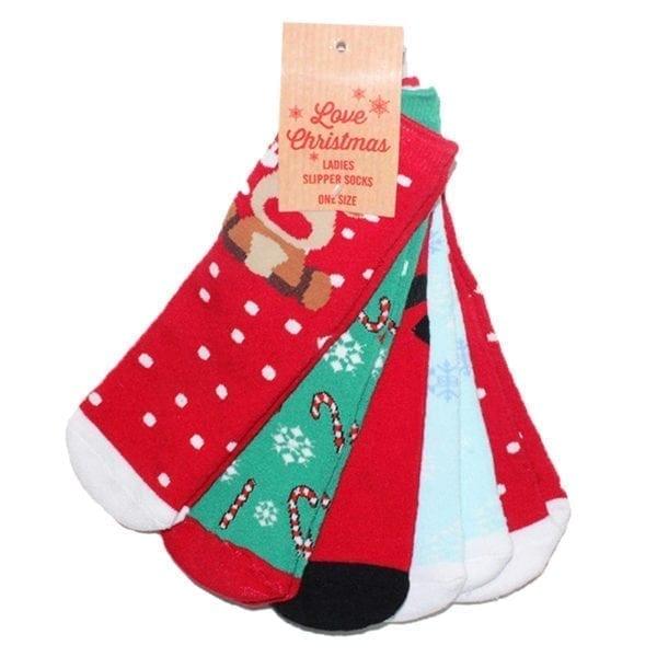 Wholesale Ladies Christmas Non-Skid Slipper Socks - 5 Pack