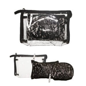 Wholesale Lacy Black Cosmetic Pouch (3 pcs Set)