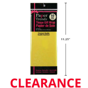 """Wholesale Tissue Wrapping Paper 10-Piece - Yellow 11.25"""""""