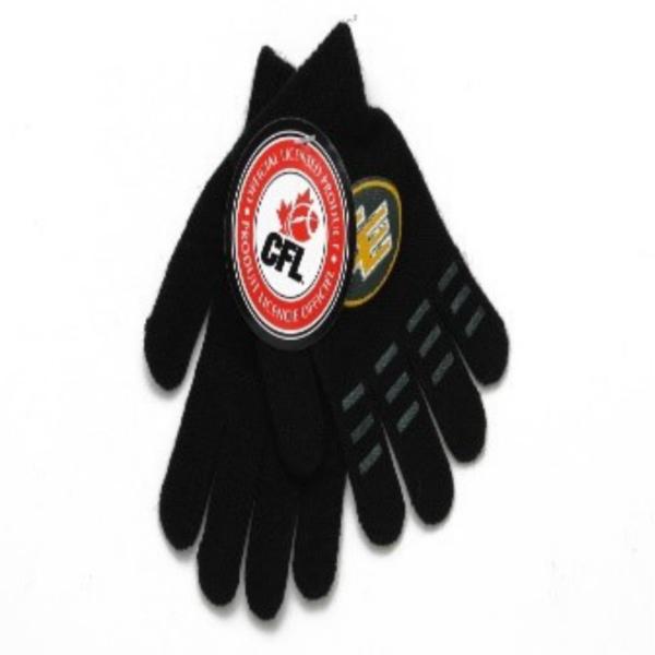 Wholesale CFL Edmonton Elks Kids Licensed Magic Gloves – Black (4-6 years)