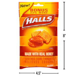 Wholesale Halls Honey Cough Drops In Resealable Bag
