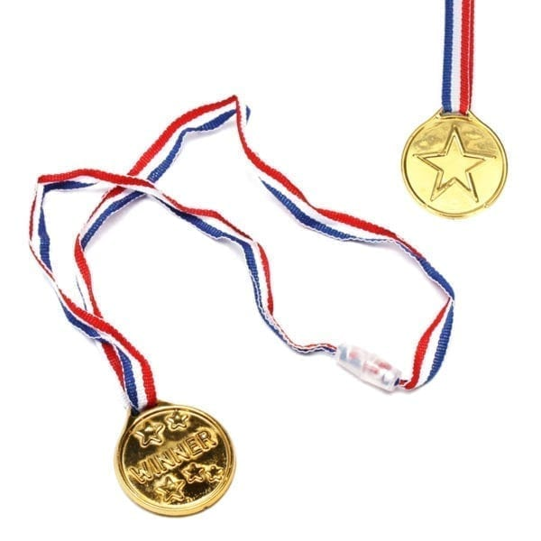 "Wholesale 1.5"" Plastic Gold Winner Medals on Ribbon"